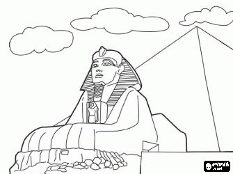 Sphinx Coloring Page Carved Into The Limestone Of