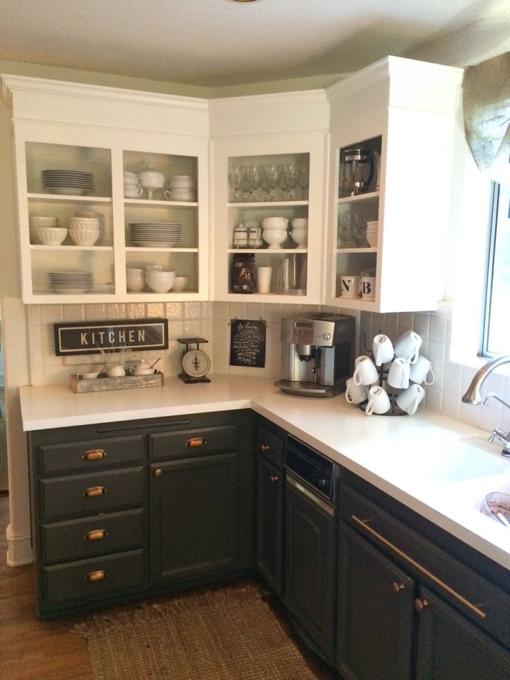 Simply White Upper Cabinets Urbane Bronze Lowers With Antique Brass Hardware White Wood