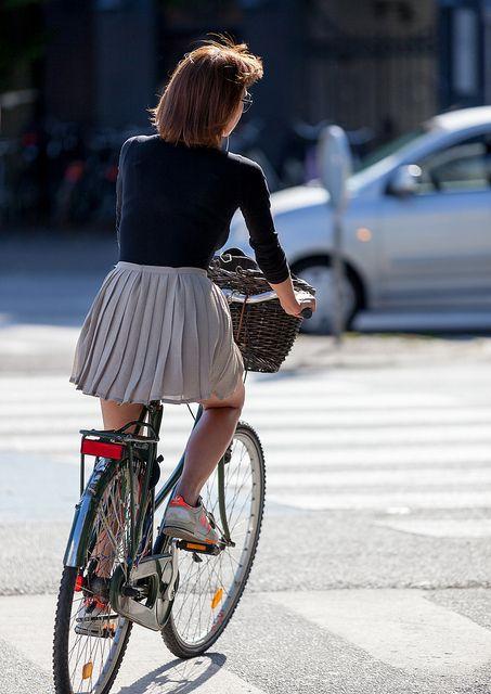 Copenhagen Japanese Schoolgirl Style People Ride Bike