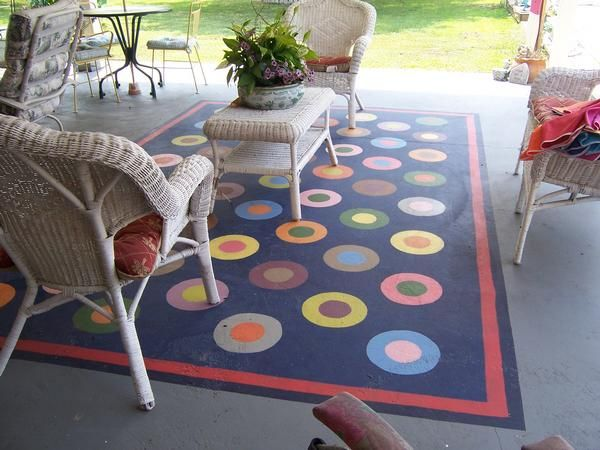 Patio Rug Painted On Concrete In Some Of Cindys Work By Gardening Pinterest Concrete