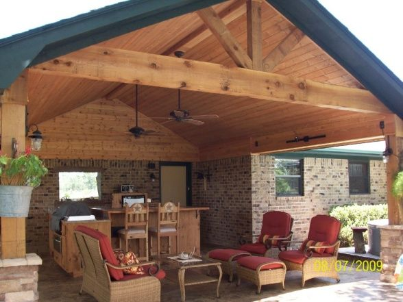 covered outdoor living patio Covered Outdoor Kitchens and Patios   Rustic outdoor