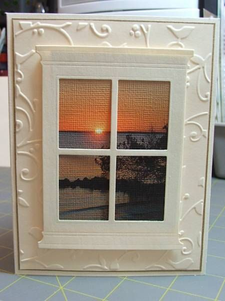 beautiful handmade card: Sunset in the Harbor by cardmaker13 … window frame die cut from Memory Box … she printed a photo onto