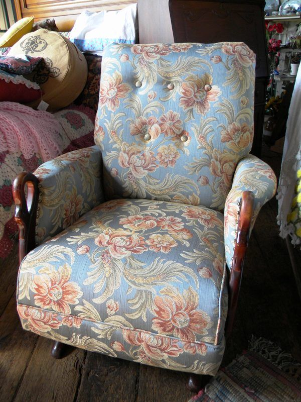 Antique Rocking Chair With Swan Arms Newly Refurbished And Reupholstered 399 We Ship Www