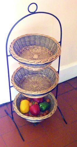 3 Tier Willow Basket Vegetable Fruit Amp Sundries Storage Rack EBay Kitchen Cabinets
