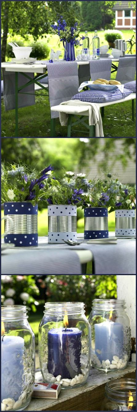 I really like these can vases and the mason jar candle holders. Decorate them with red white and blue for the 4th or any color you like for any holiday family get together: