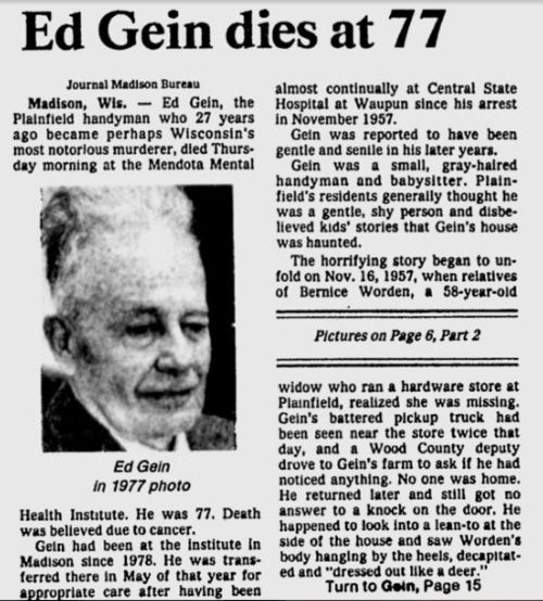 232 best images about Ed Gein : Murderer and Bodysnatcher ...