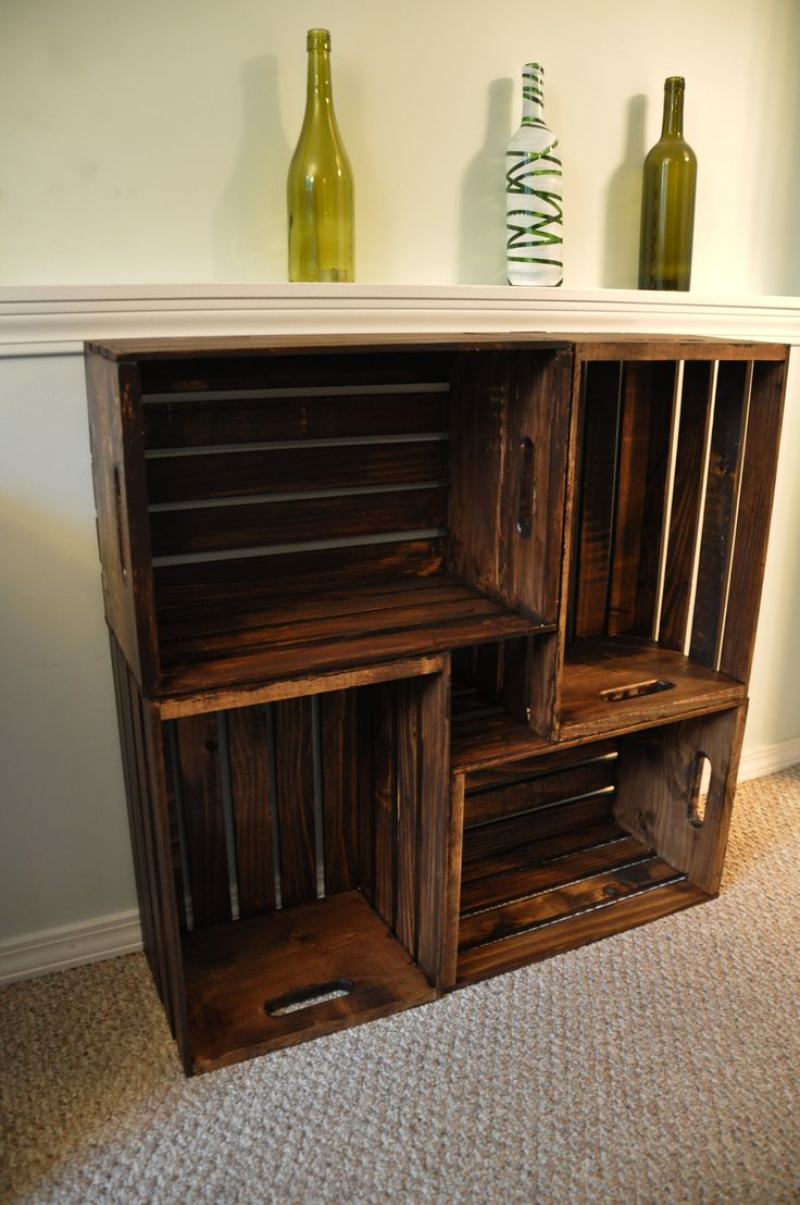 """Wooden Crate Bookcase – """"build"""" them double high and use them in the living room for books and knick knacks."""