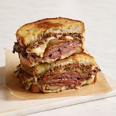 Roast beef and french onion grilled cheese. I highly recommend this. Just made it for lunch and its delicious. I used ciabatta