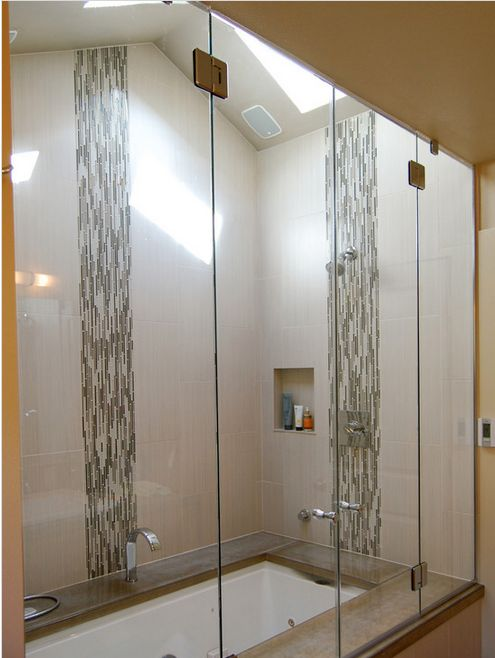 Vertical Accent Tile In A Glass Shower Gorgeous