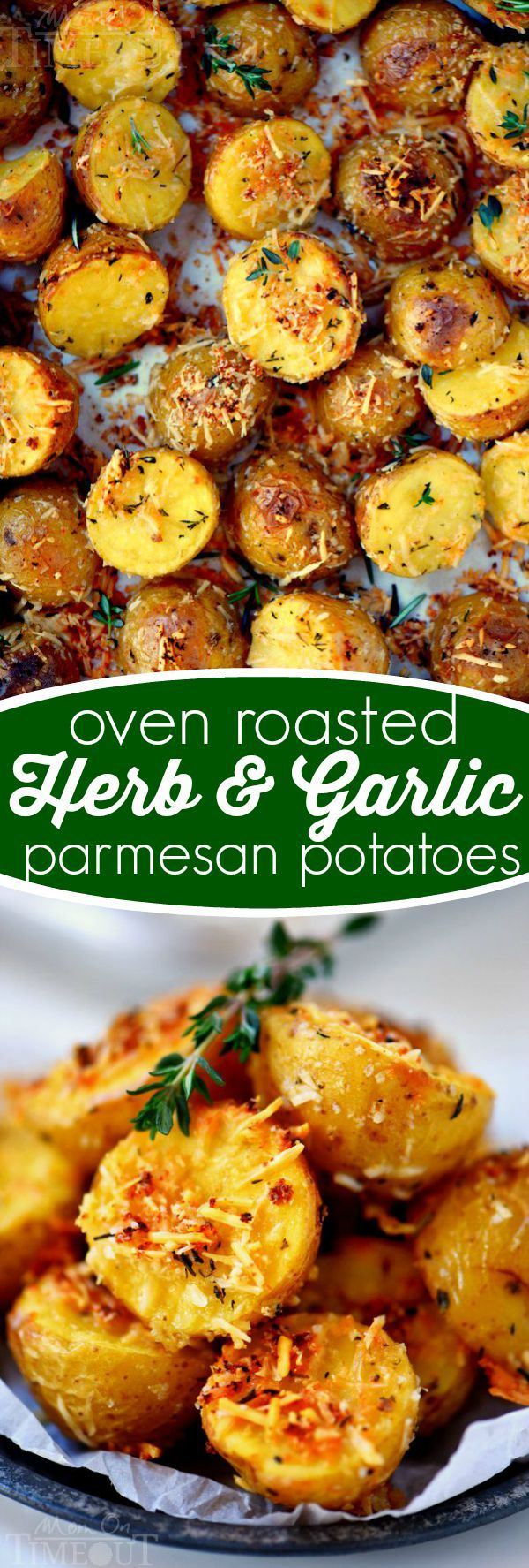 These Oven Roasted Herb and Garlic Parmesan Potatoes are the perfect side dish to whatever youre making for dinner tonight!
