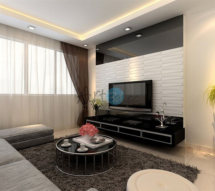3D PVC Wall Cladding For Living Room Wall Design Ideas
