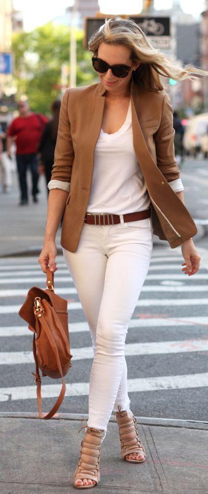 Camel Blazer Casual Chic Style – Brooklyn Blonde