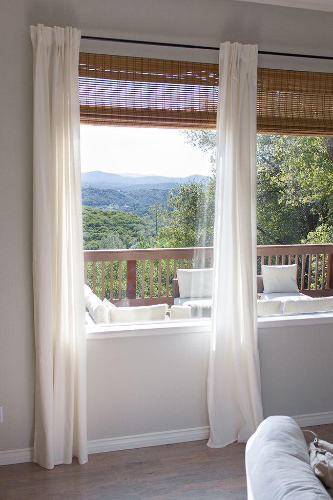 IKEA Ritva Curtains Over Bamboo Roman Shades Dark Curtain Rod Window Treatments Pinterest