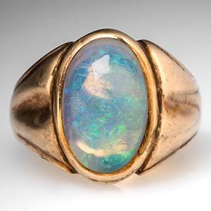 Falcon Vintage Mens Opal Ring Bezel Set 10K Gold Rings