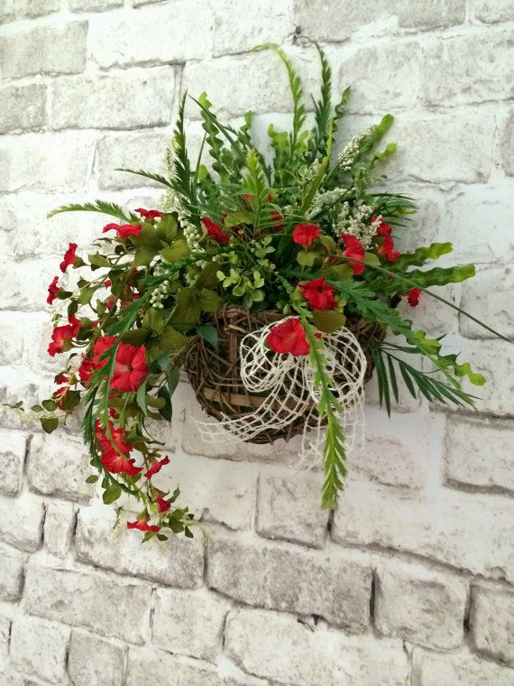 Floral Wall Basket, Front Door Decor, Red Silk Floral ... on Decorative Wall Sconces For Flowers Hanging Baskets Delivery id=60684