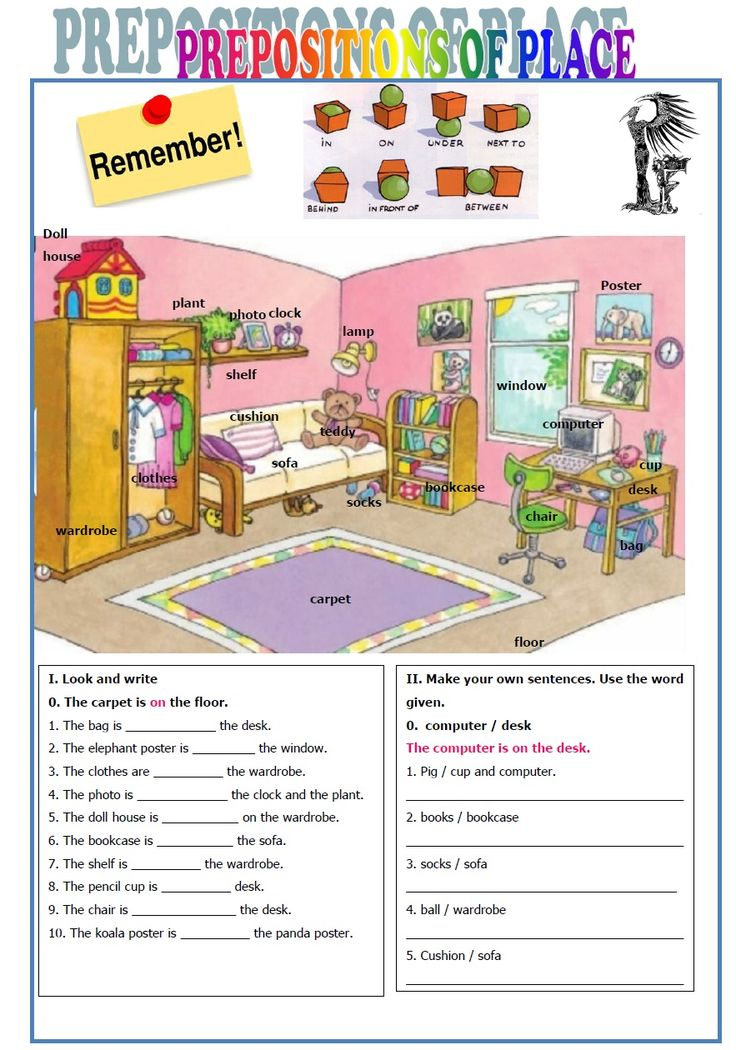V Sledek Obrazku Pro Prepositions Of Place Worksheet