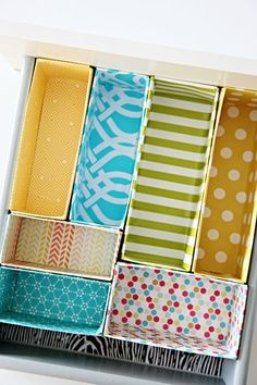 This is a great idea! Cut and cover your old cereal boxes to make draw dividers, to help organise all of your things.