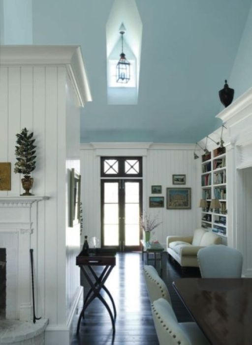 white walls with a soft blue ceiling - love this timeless and fresh combination
