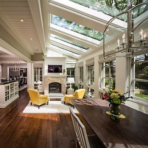 Love this room, (looks like it's off of the kitchen), with stunning ceiling windows!