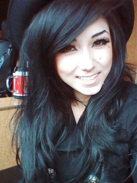 Melissa Marie Green Black Hair With Side Swept Bangs