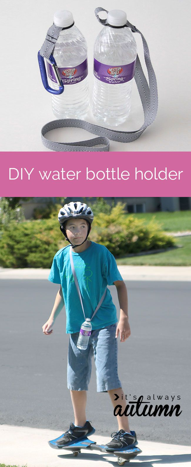cool idea for an easy DIY water bottle holder using an O-ring and ribbon – now kids can carry their own water!