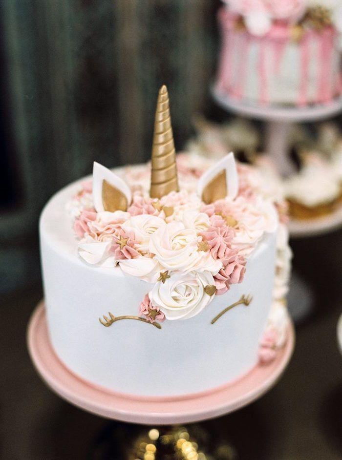 Unicorn Cake From A Glamorous Unicorn Christening Party On