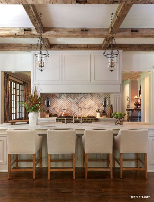 Open #kitchen with brick and rustic beams. #design: