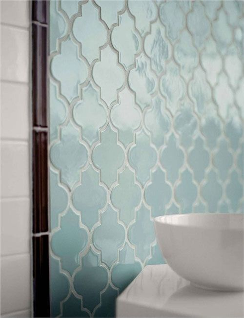 Love this unique bathroom tile! This would even look great as a backsplash in a French country themed kitchen!: