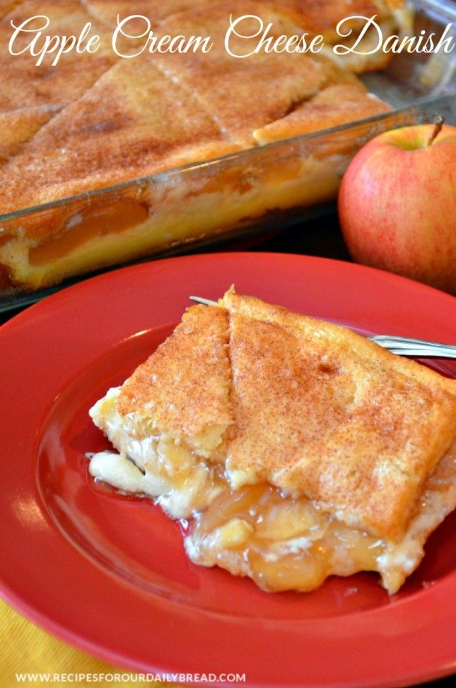 Apple Cream Cheese Danish  – This danish is made with Pillsbury Crescent rolls, cream cheese, and apple pie filling.
