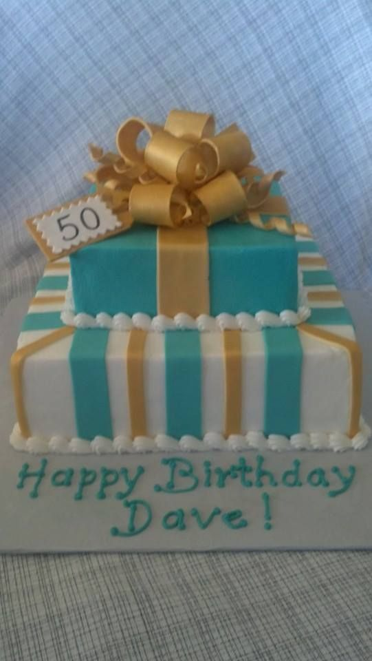 Birthday Cakes Turquoise And Gold 50th Birthday Cake