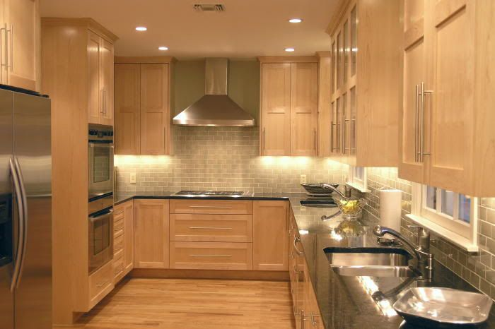 maple cabinets with subway tile backsplash and dark ... on Kitchen Backsplash With Maple Cabinets  id=24585