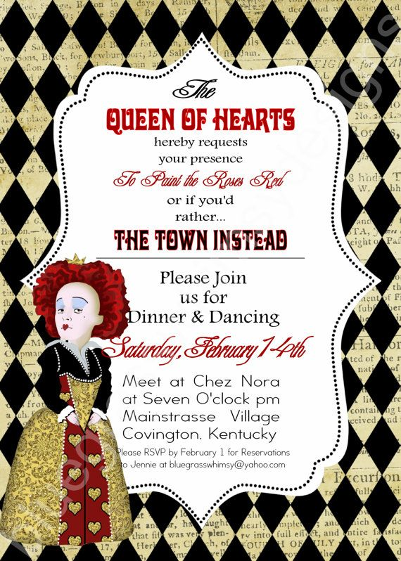QUEEN OF HEARTS Alice In Wonderland Valentines Day Party Invitation 5x7 Red Black Tan