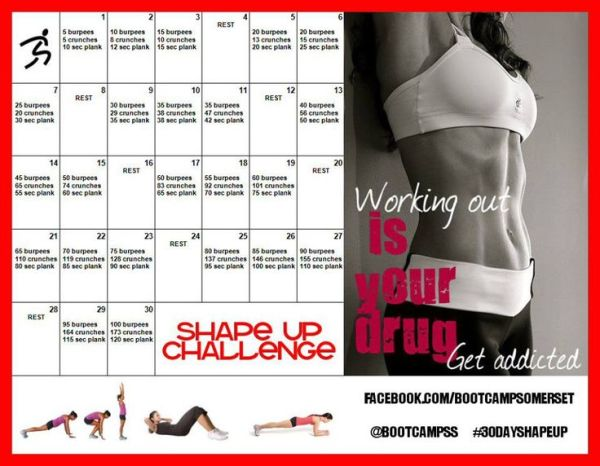 My new 30 Day Shape Up Challenge Working your fitness and