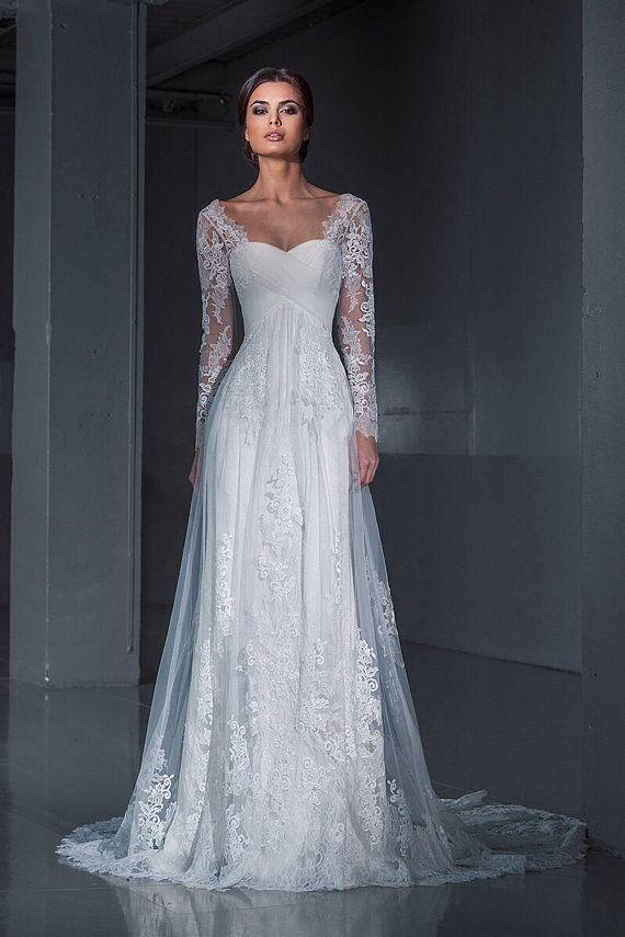 Lace wedding dress.Wedding dress. Long sleeves by AutumnSilkBridal