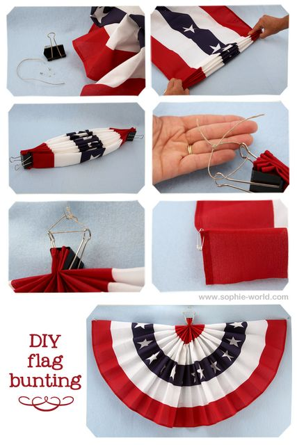 DIY Flag Bunting Fabric Swag Great For Fourth Of July From Sophies World Sophies World