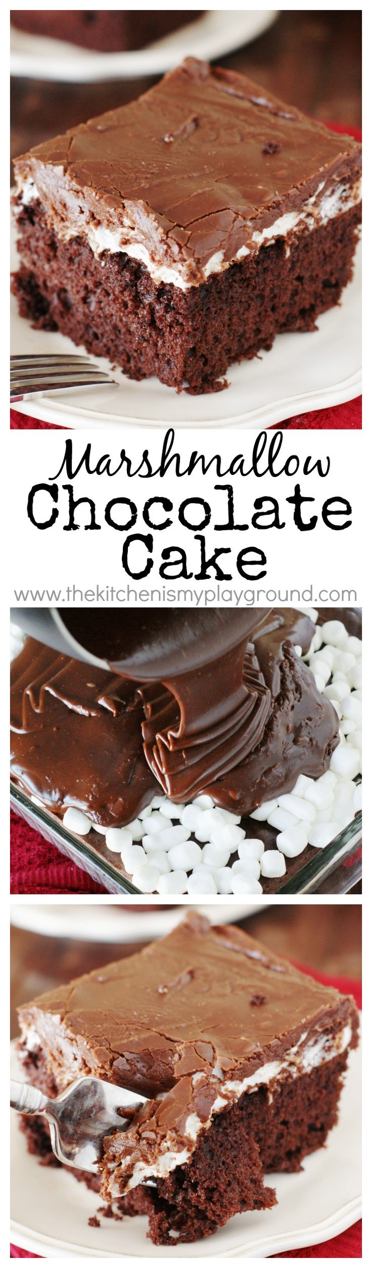 Marshmallow Chocolate Cake ~ Tender & tasty chocolate cake topped with a layer of gooey, melty marshmallow and rich