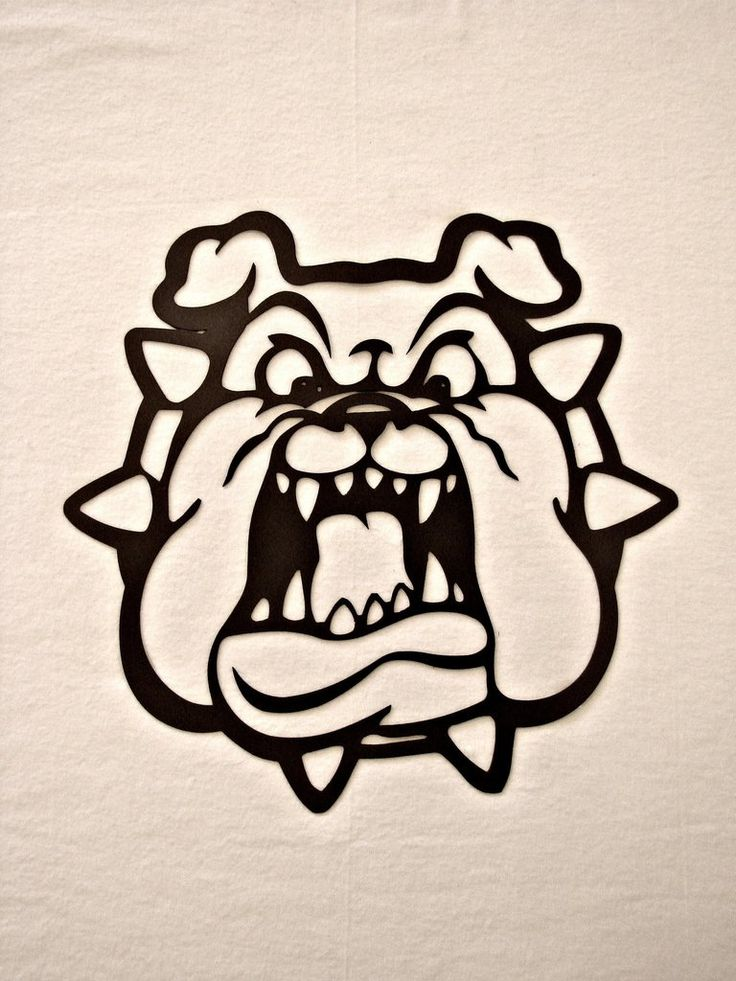 hell hound bulldog with spiked collar metal wall sculpture on metal wall art id=56154