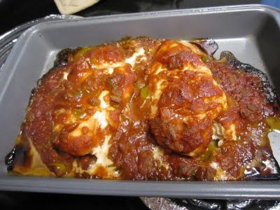 Baked Salsa Chicken Breast-this was a healthy yummy dish that went well with the parmesan baked tomatoes I also got from