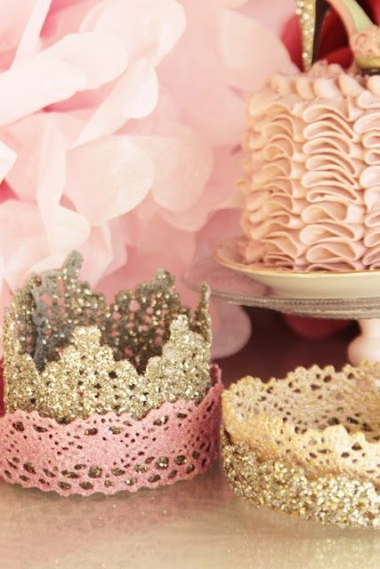 DIY lace crown. Cute for the birthday girl!