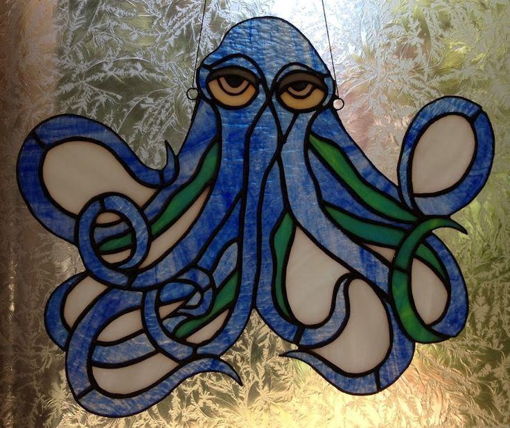 Stained Glass Blue Kraken Octopus Suncatcher Available