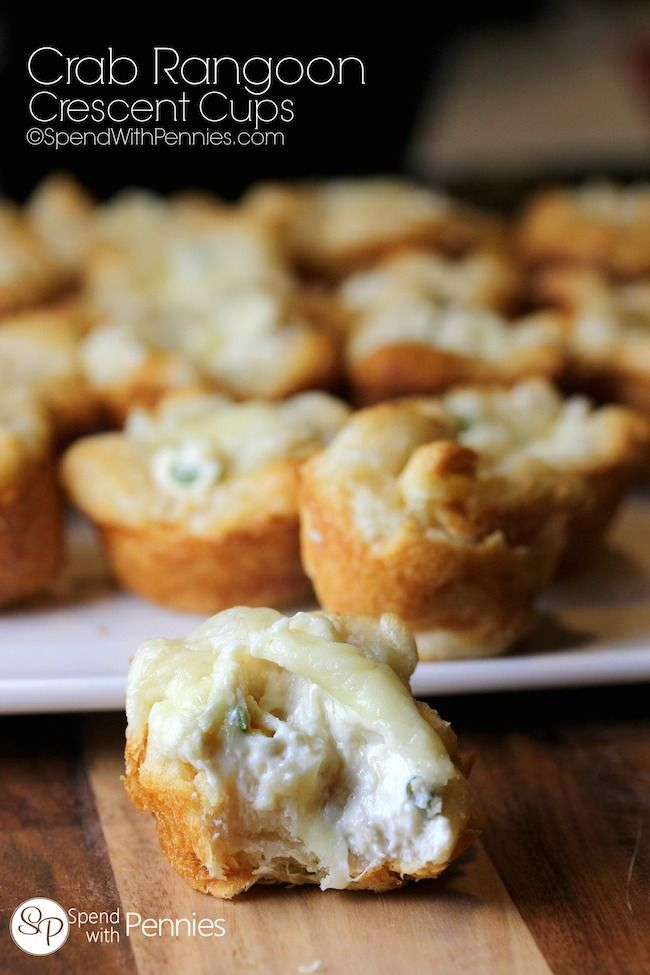 Crab Rangoon Crescent Cups! This is one of the easiest recipes to put together and my guests always rave about them!