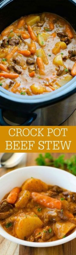 The most delicious beef stew ever slow cooked in the crock pot: