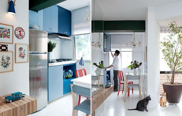 A cozinha do apartamento de 42 mВІ era realmente um cubГculo. Por isso, o desig