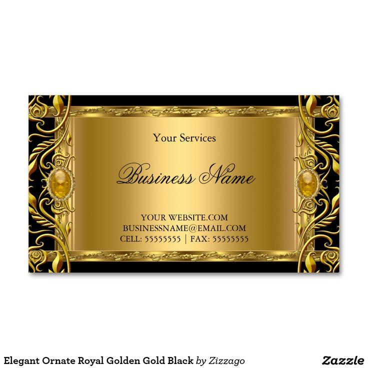Elegant ornate royal golden gold black business card