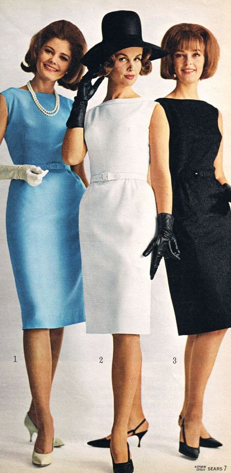 Sears 1964 vintage fashion style color photo print ad models magazine sheath dress wiggle blue white black shoes hat 60s day office elegant: