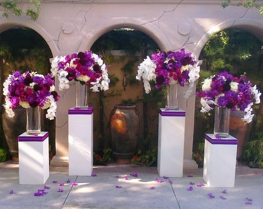 We Use These Columns (in Your Colors) For The Ceremony And Place Your Reception Centerpieces On