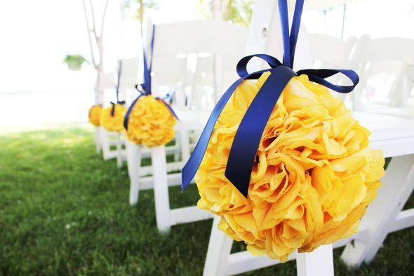 Pomanders- Canary Yellow : Wedding Pomanders Flowers Navy