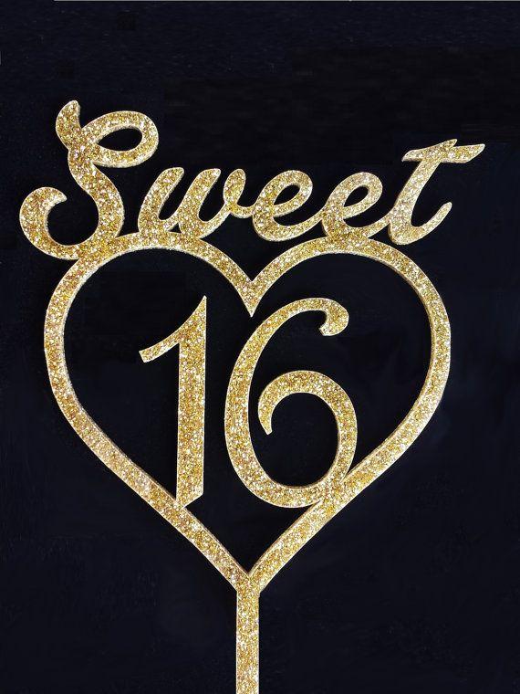 Sweet Sixteen Cake Topper Acrylic Cake Topper Sweet 16