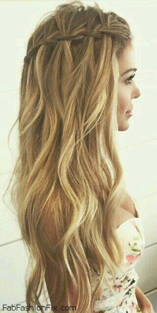 Loose waterfall braid for summer hair inspiration. #braid #braided #waterfall: