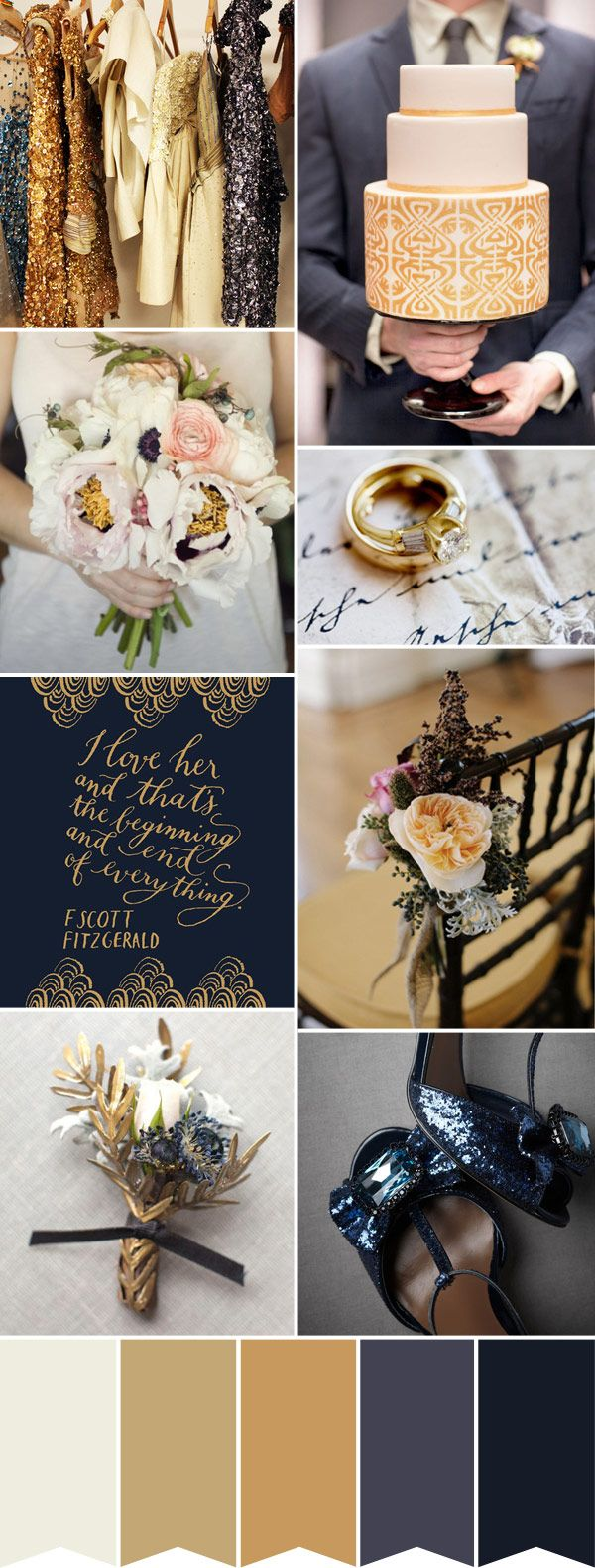Wedding colour palette - various shades of Dark Blue and Gold: